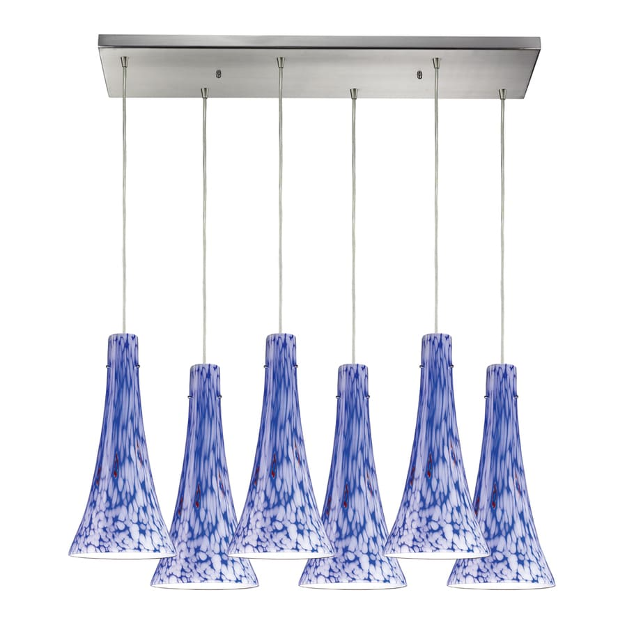 Westmore Lighting Madarosa 30-in Satin Nickel and Blue Glass Mini Tinted Glass Bell Pendant