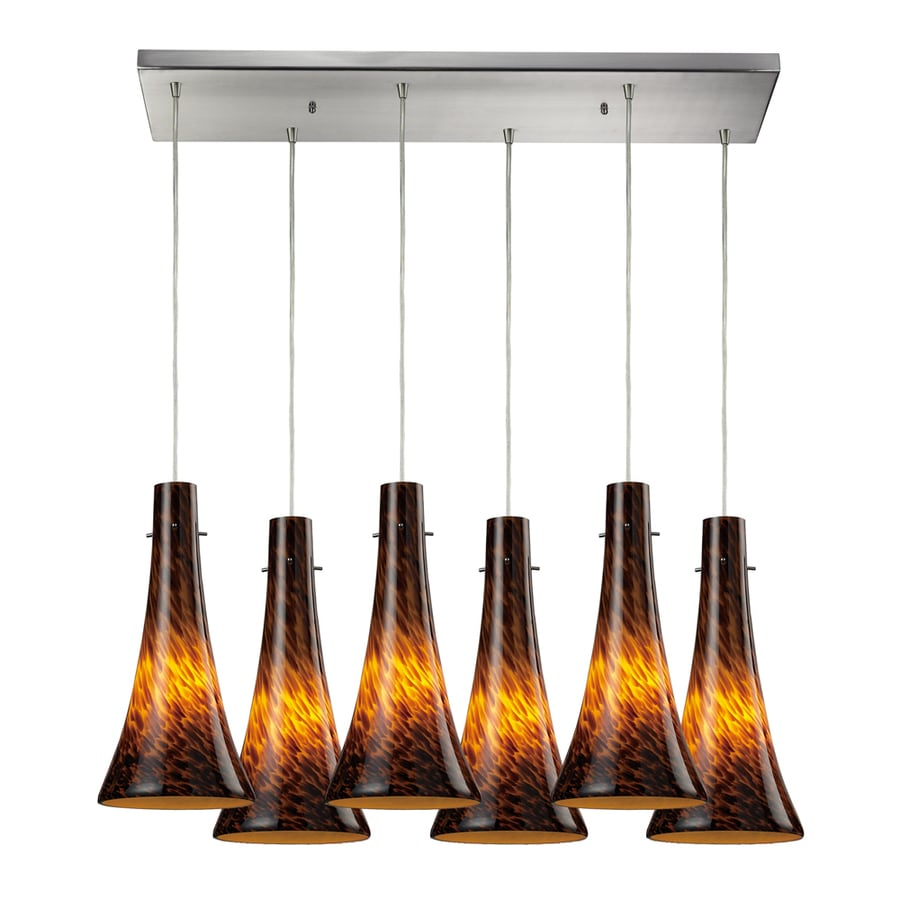 Westmore Lighting Madarosa 30-in Satin Nickel and Espresso Glass Mini Tinted Glass Bell Pendant