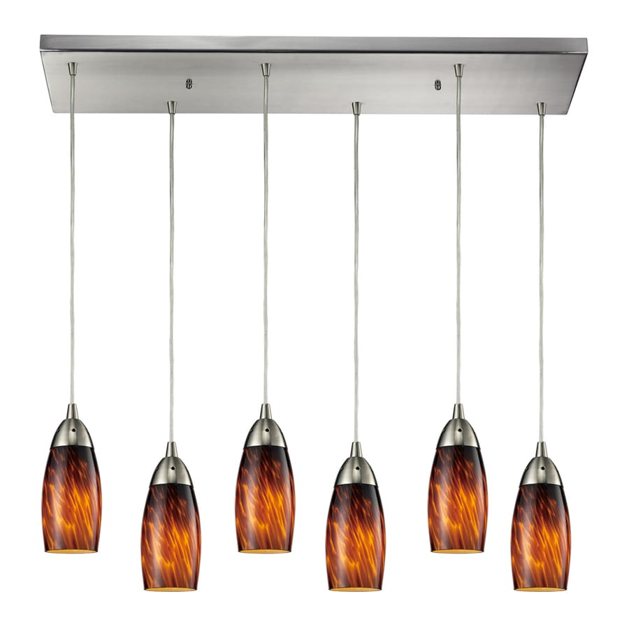 Westmore Lighting Salicio 30-in Satin Nickel and Espresso Glass Mini Tinted Glass Teardrop Pendant