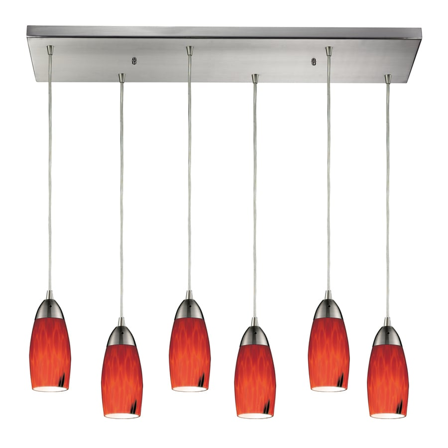 Westmore Lighting Salicio 30-in Satin Nickel and Fire Red Glass Mini Tinted Glass Teardrop Pendant