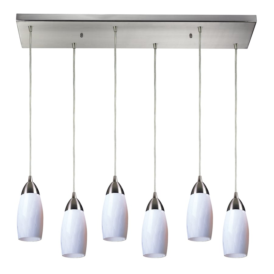 Westmore Lighting Salicio 30-in Satin Nickel and White Glass Mini Tinted Glass Teardrop Pendant