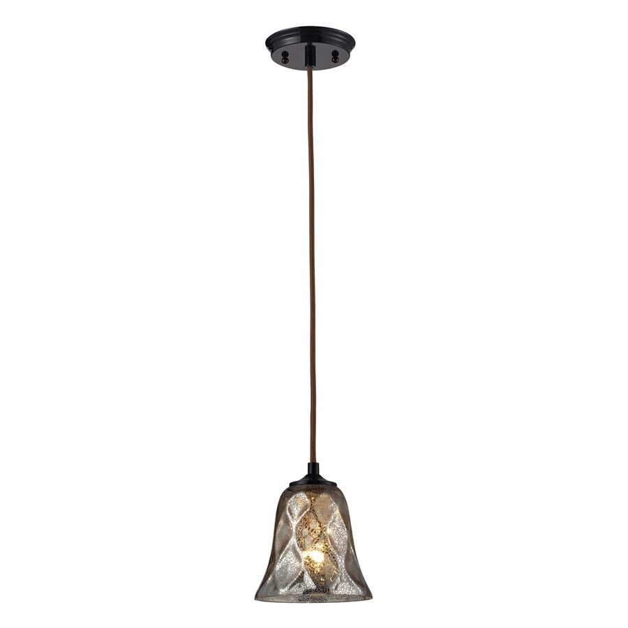 Westmore Lighting Erinfield 6-in Oiled Bronze and Tinted Glass Mini Tinted Glass Bell Pendant