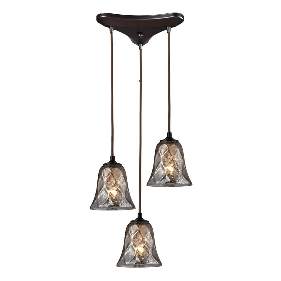 Westmore Lighting Erinfield 10-in Oiled Bronze and Tinted Glass Mini Tinted Glass Bell Pendant