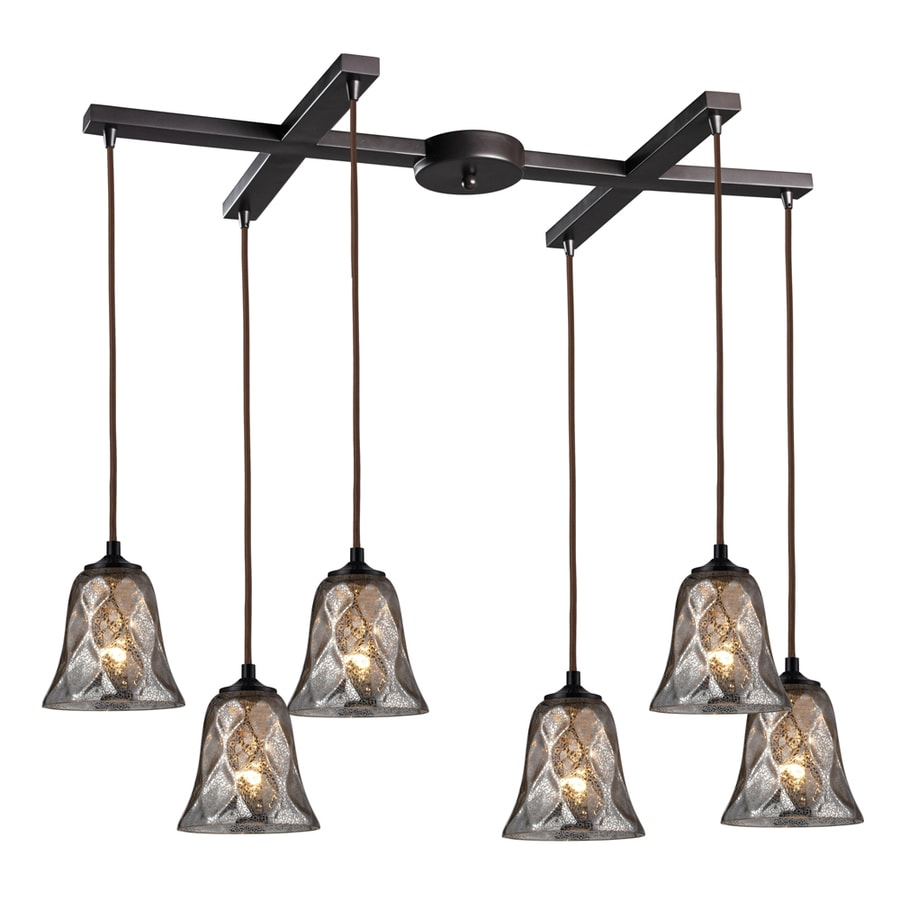 Westmore Lighting Erinfield 33-in Oiled Bronze and Tinted Glass Mini Tinted Glass Bell Pendant