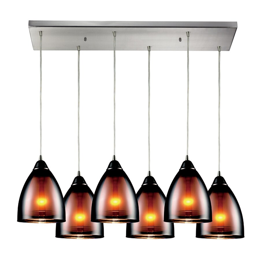 Westmore Lighting Morfield 36-in Satin Nickel and Tinted Glass Mini Tinted Glass Bell Pendant