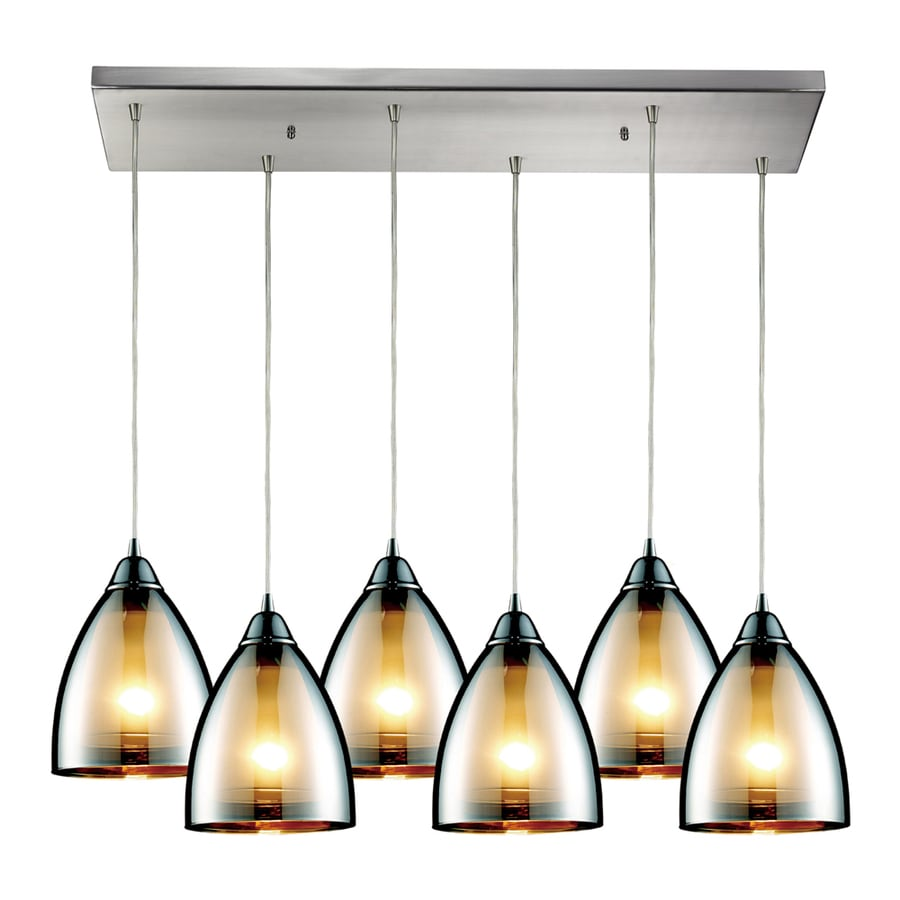Westmore Lighting Morfield 30-in Satin Nickel and Tinted Glass Mini Tinted Glass Teardrop Pendant