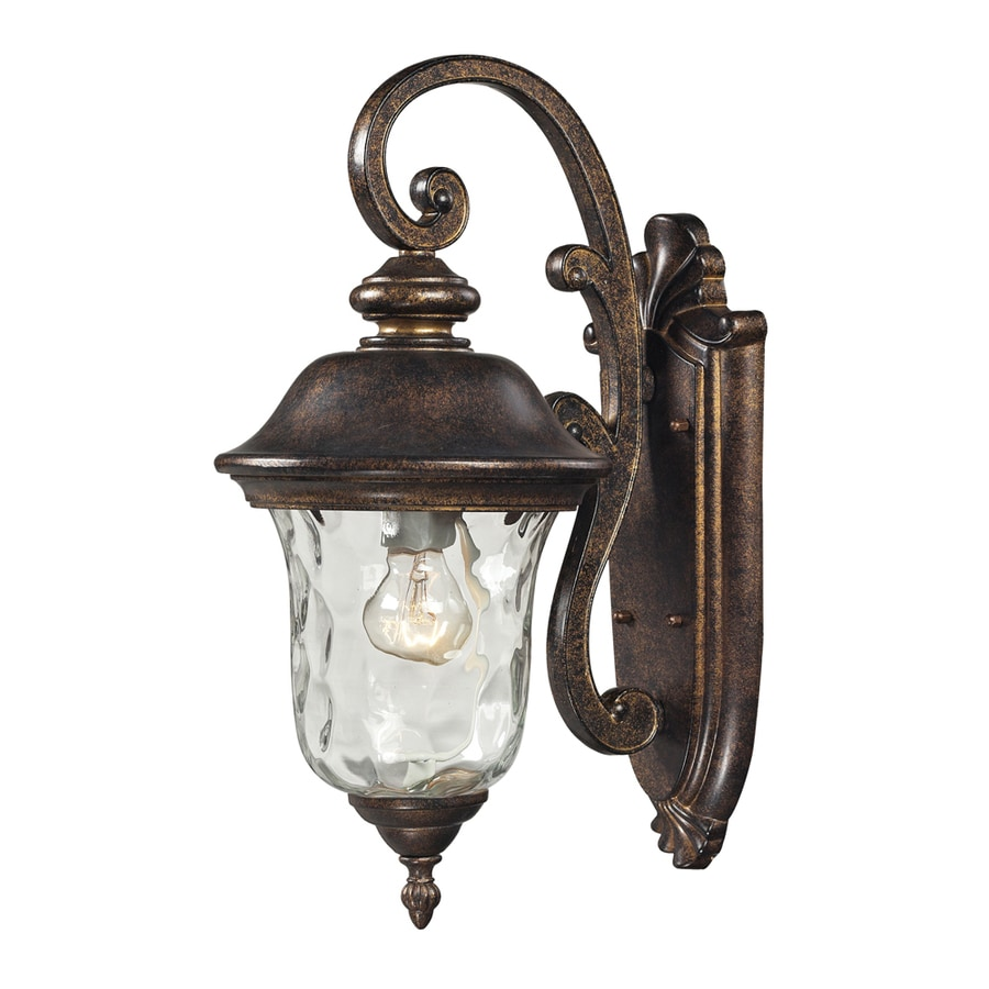 Westmore Lighting Elsfield 16-in H Regal Bronze and Clear Blown Water Glass Outdoor Wall Light