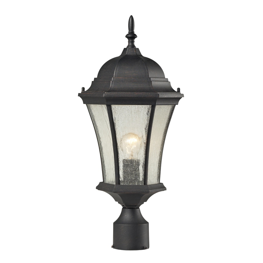 Westmore Lighting Filfield 21-in H Weathered Charcoal and Seedy Glass Post Light