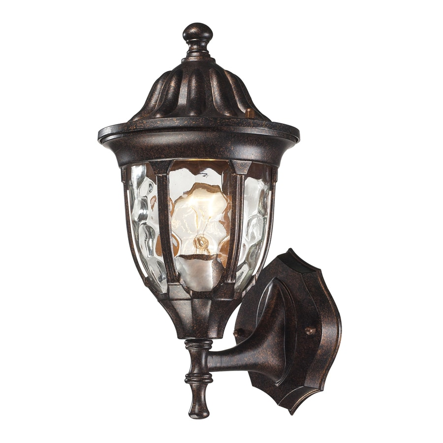 Westmore Lighting Kinfirth 13-in H Regal Bronze and Clear Water Glass Outdoor Wall Light