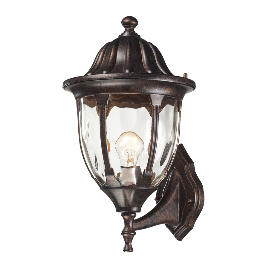 Westmore Lighting Kinfirth 16-in H Regal Bronze and Clear Water Glass Outdoor Wall Light