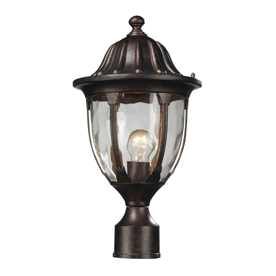 Westmore Lighting Kinfirth 17-in H Regal Bronze and Seedy Glass Post Light