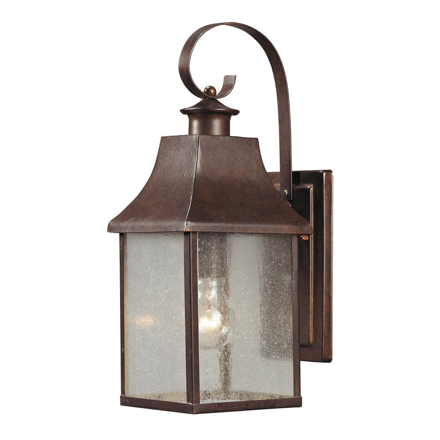 Westmore Lighting Helmshore 16-in H Hazelnut Bronze and Seedy Glass Outdoor Wall Light