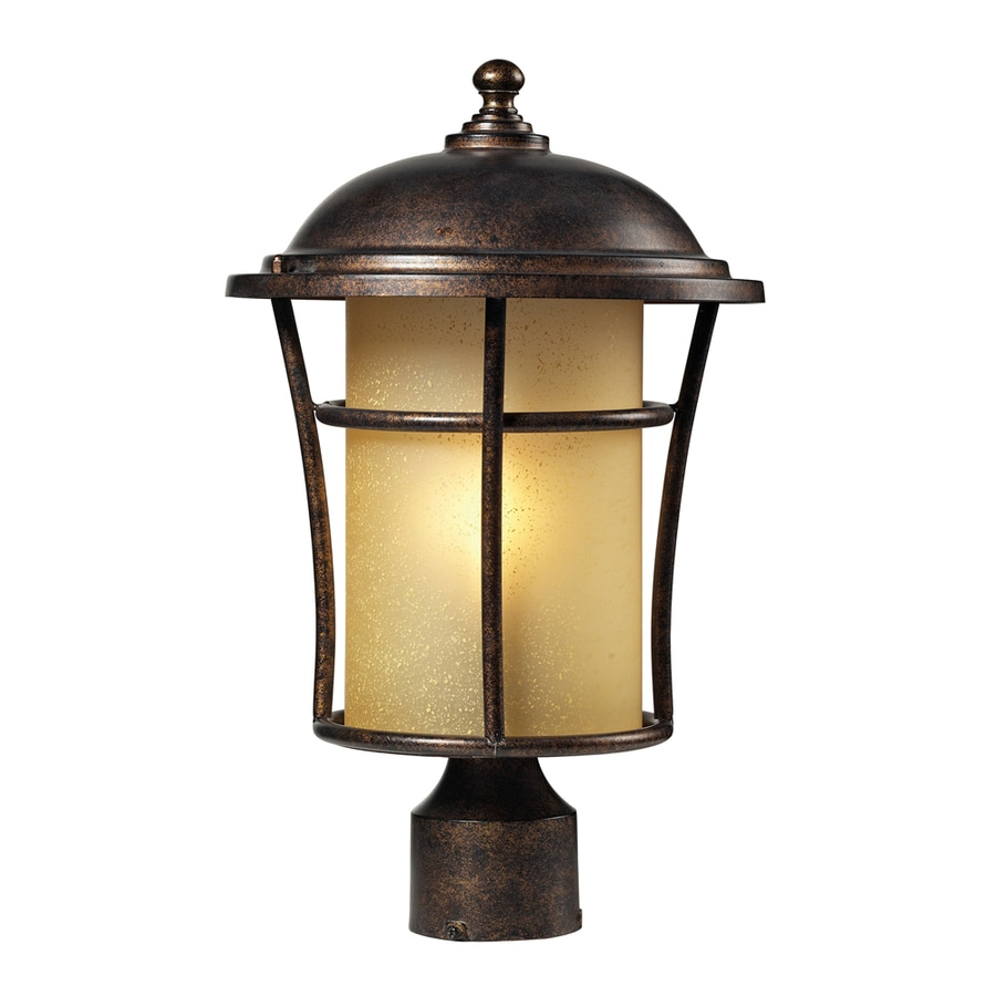 Westmore Lighting Astley 17-in H Regal Bronze and Amber Glass Integrated Post Light