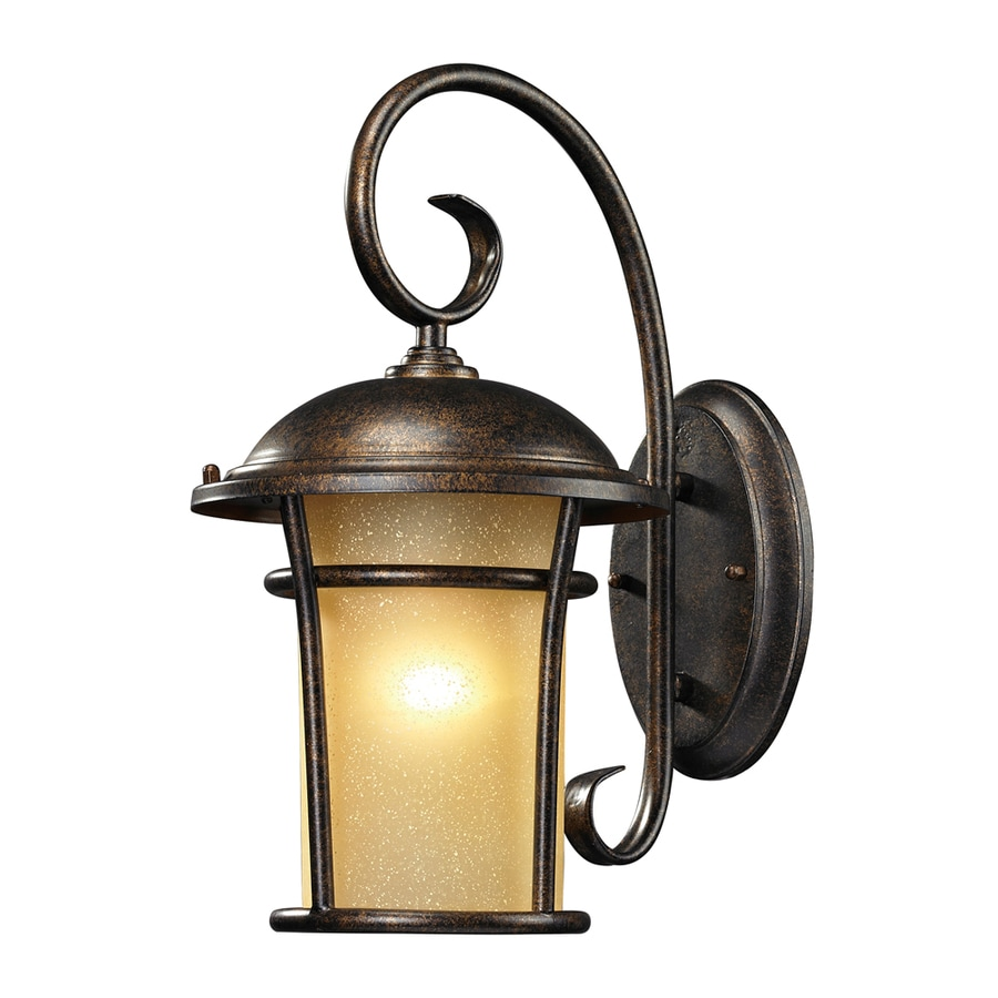 Westmore Lighting Astley 17-in H LED Regal Bronze and Amber Glass Outdoor Wall Light
