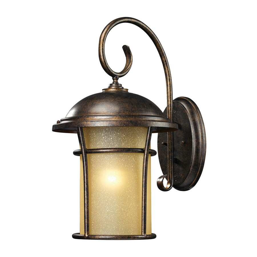Westmore Lighting Astley 20-in H LED Regal Bronze and Amber Glass Outdoor Wall Light