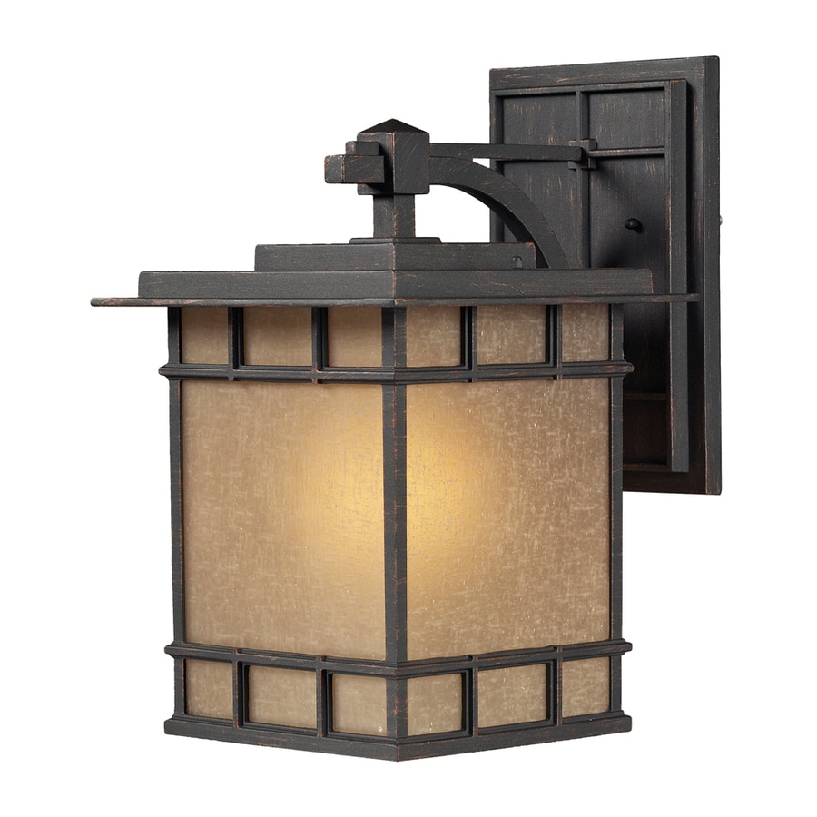 Westmore Lighting Croston 17-in H LED Weathered Charcoal and Seeded Amber Linen Glass Outdoor Wall Light