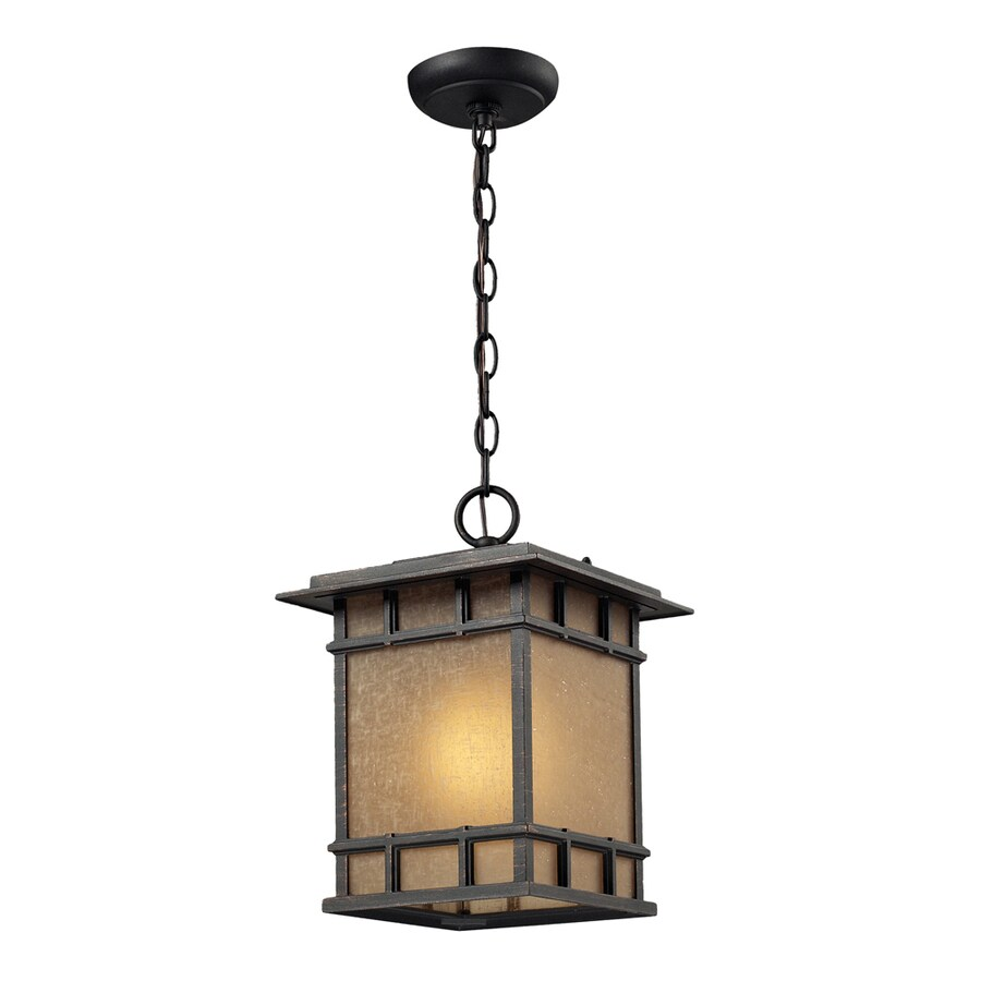 Westmore Lighting Croston 13-in Weathered Charcoal and Seeded Amber Linen Glass Outdoor Pendant Light