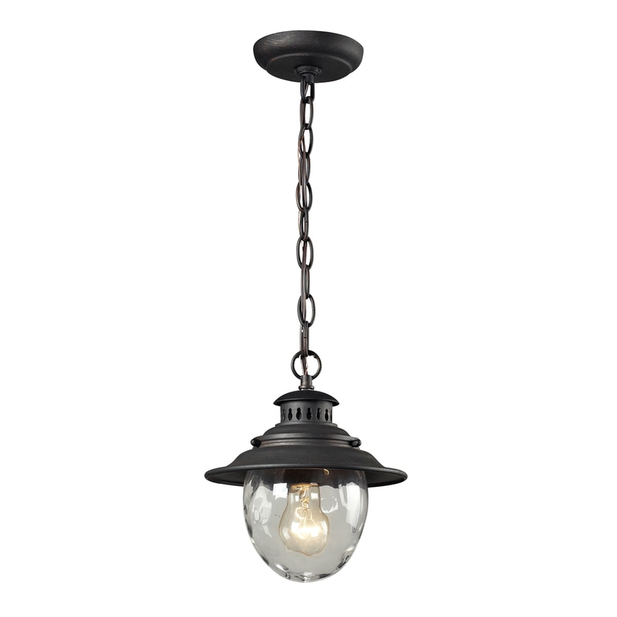 Westmore Lighting Farington 10 In Weathered Charcoal And Water Glass Outdoor  Pendant Light