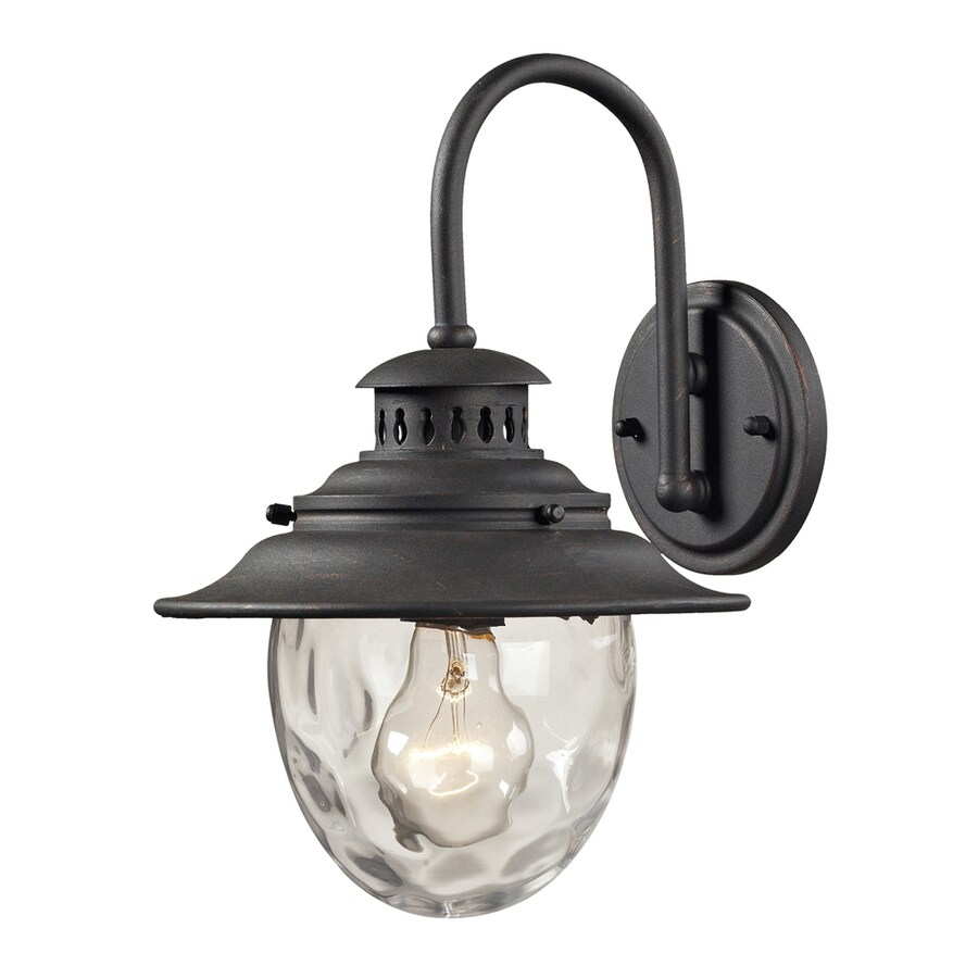Westmore Lighting Farington 13-in H Weathered Charcoal and Clear Water Glass Outdoor Wall Light