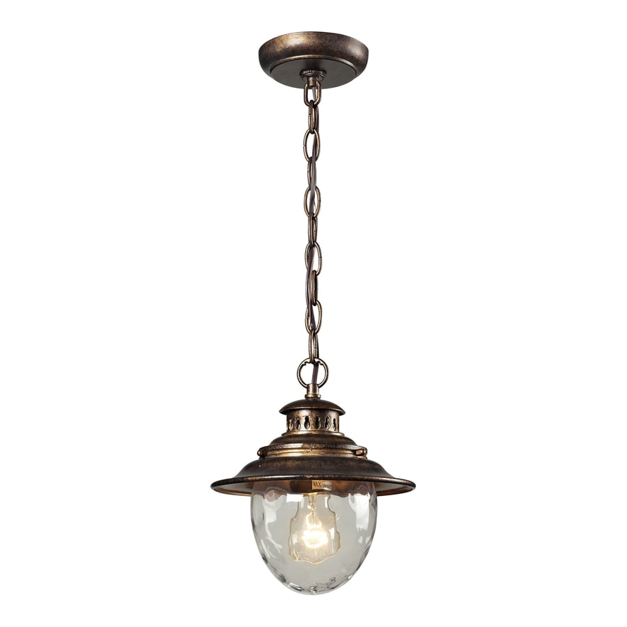 Westmore Lighting Farington 10-in Regal Bronze and Water Glass Outdoor Pendant Light