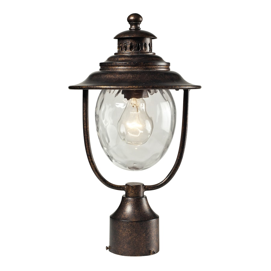 Westmore Lighting Farington 15-in H Regal Bronze and Water Glass Post Light
