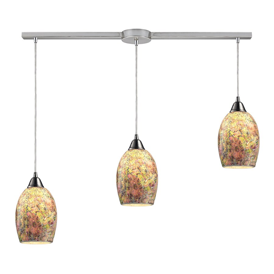 Westmore Lighting Fradley 10-in Satin Nickel and Crackled Multicolor Glass Mini Textured Glass Teardrop Pendant