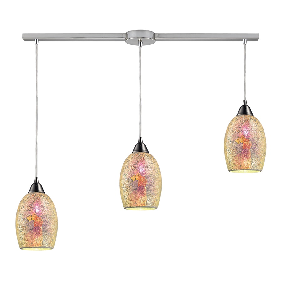 Westmore Lighting Fradley 36-in Satin Nickel and Crackled Multicolor Glass Mini Textured Glass Teardrop Pendant