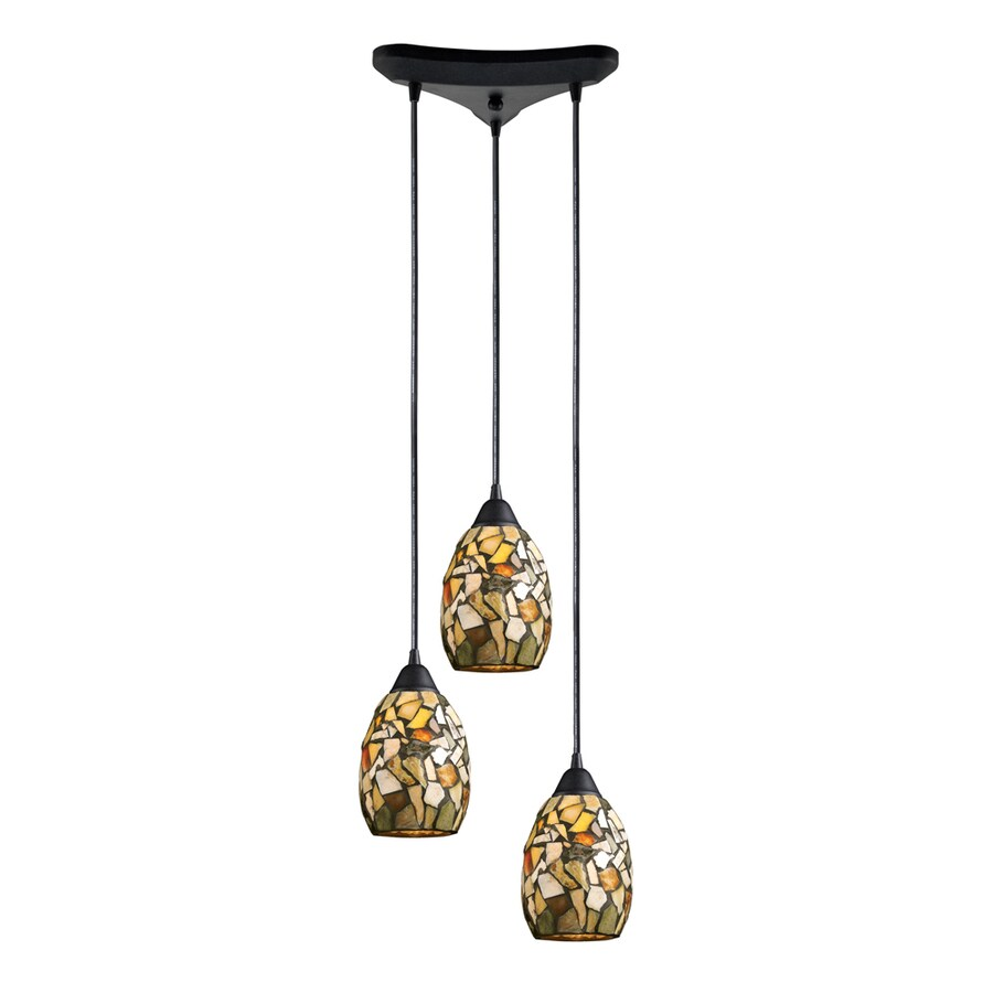 Westmore Lighting Berkswich 10-in Dark Rust and Multicolor Stone Mini Textured Glass Teardrop Pendant