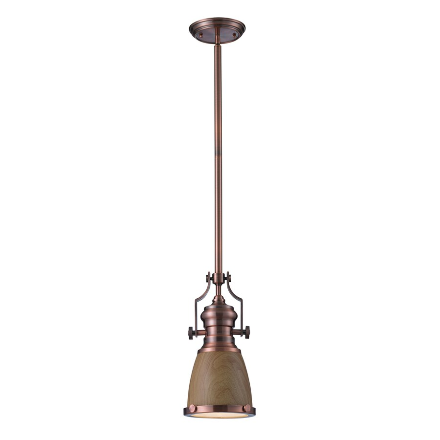 Westmore Lighting Chiserley 8-in Antique Copper Mini Tinted Glass Pendant