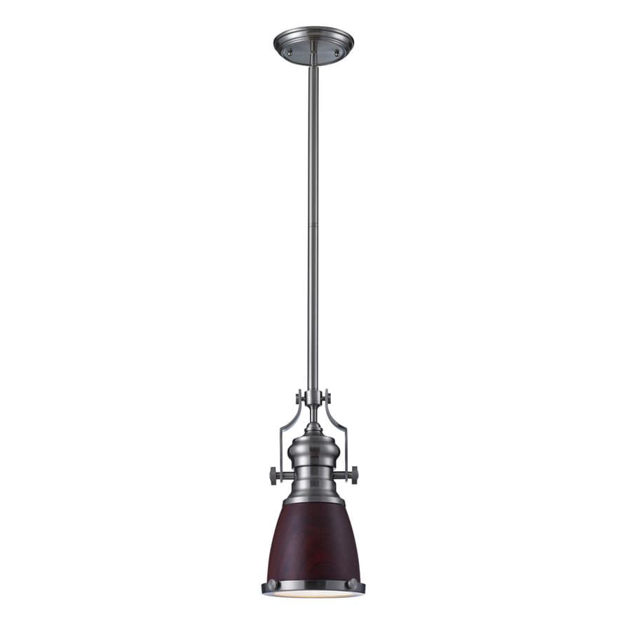 Westmore Lighting Chiserley 8-in Satin Nickel Mini Tinted Glass Pendant