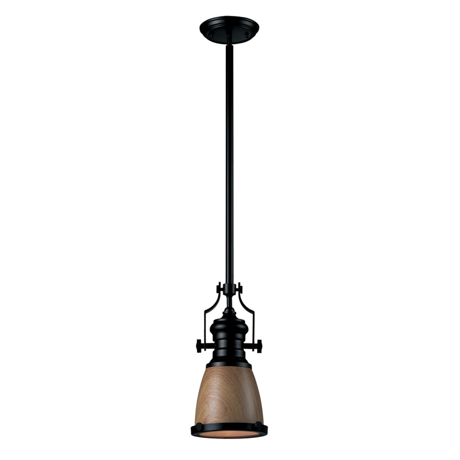 Westmore Lighting Chiserley 8-in Oiled Bronze Industrial Mini Tinted Glass Pendant