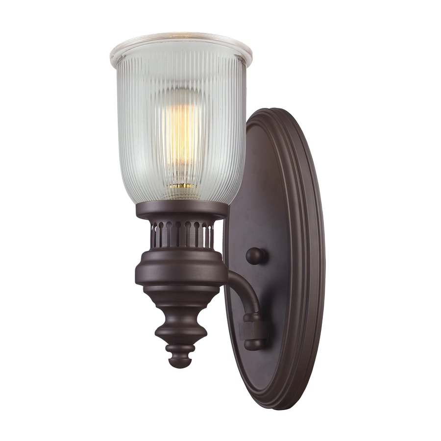 Ribbed Glass Wall Lights : Shop Westmore Lighting Drayford 7-in W 1-Light Oiled Bronze and Clear Ribbed Glass Arm Wall ...