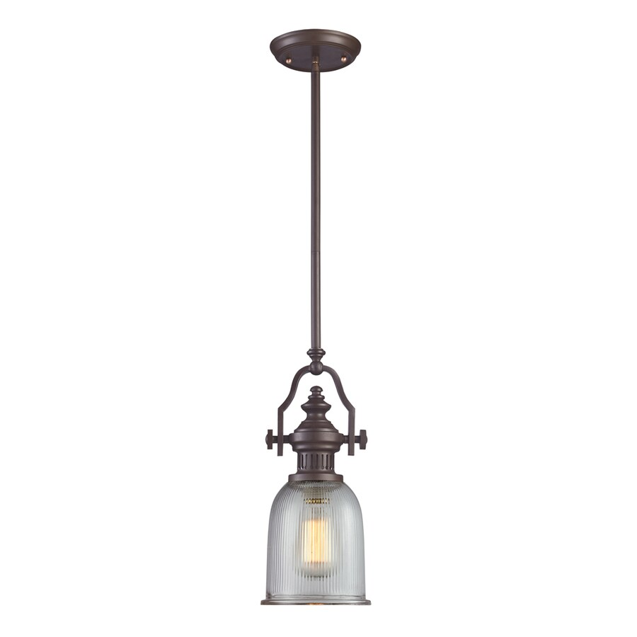 Westmore Lighting Drayford 7-in Oiled Bronze and Clear Ribbed Glass Industrial Mini Clear Glass Pendant