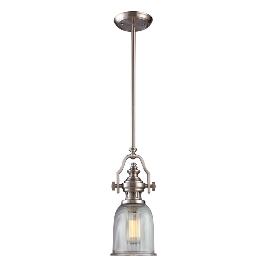 Westmore Lighting Drayford 7-in Satin Nickel and Clear Ribbed Glass Industrial Mini Clear Glass Pendant
