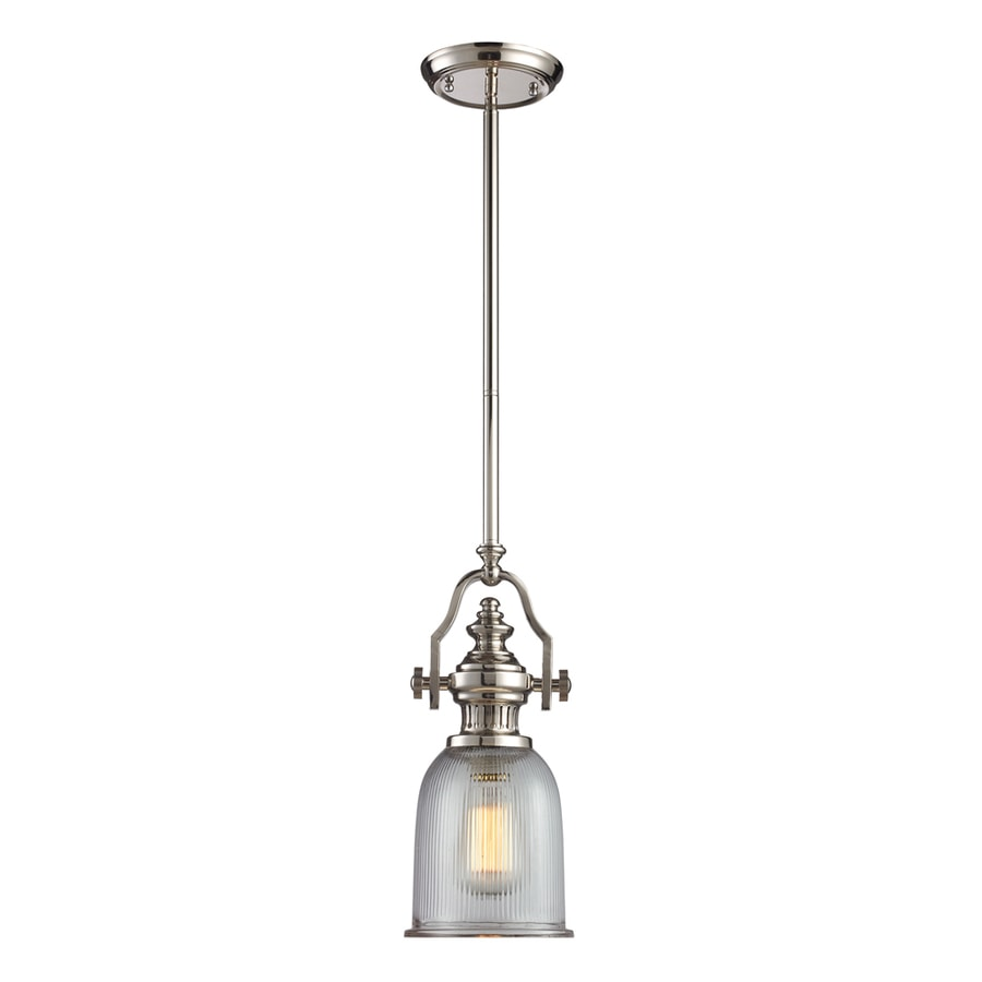 Westmore Lighting Drayford 7-in Polished Nickel and Clear Ribbed Glass Industrial Mini Clear Glass Pendant