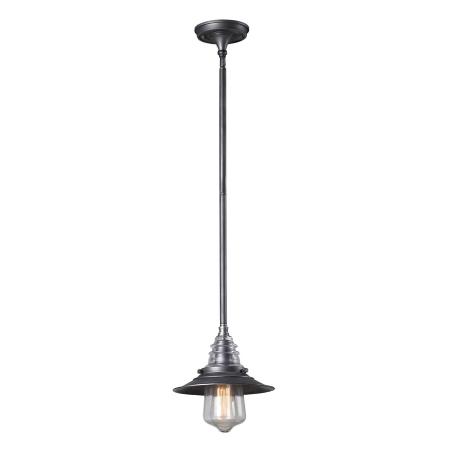 Westmore Lighting Notley 9-in Weathered Zinc and Clear Glass Industrial Mini Clear Glass Bell Pendant