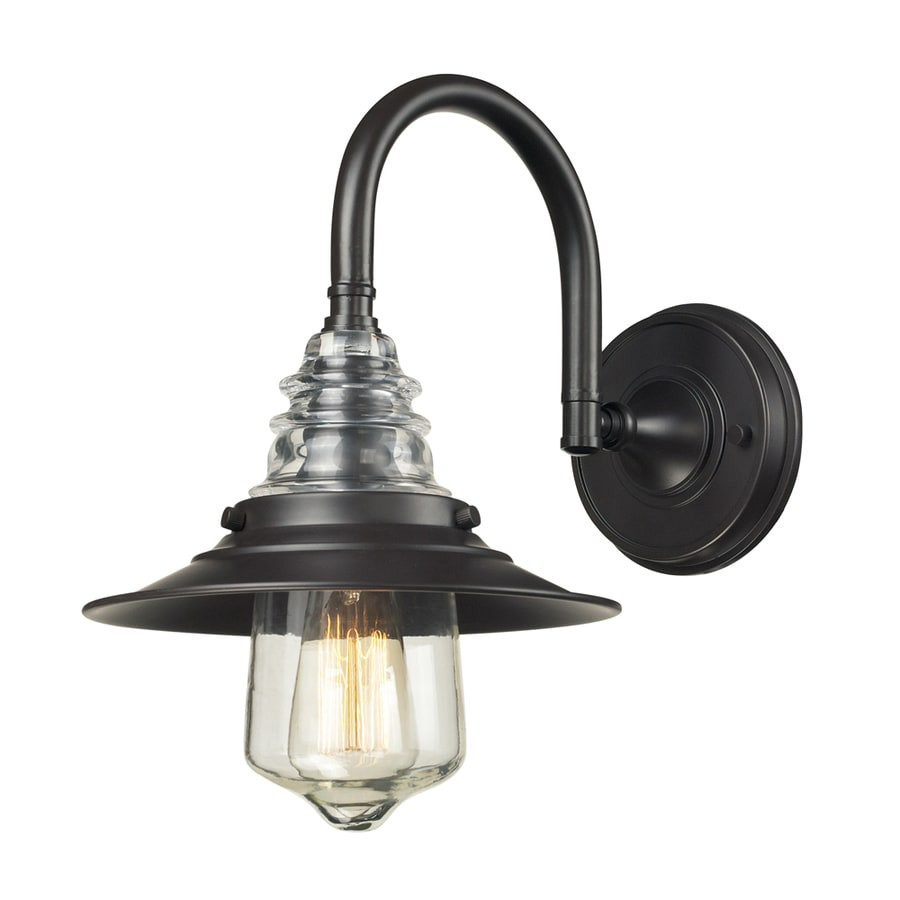 Westmore Lighting Notley 9-in W 1-Light Oiled Bronze and Clear Glass Arm Wall Sconce