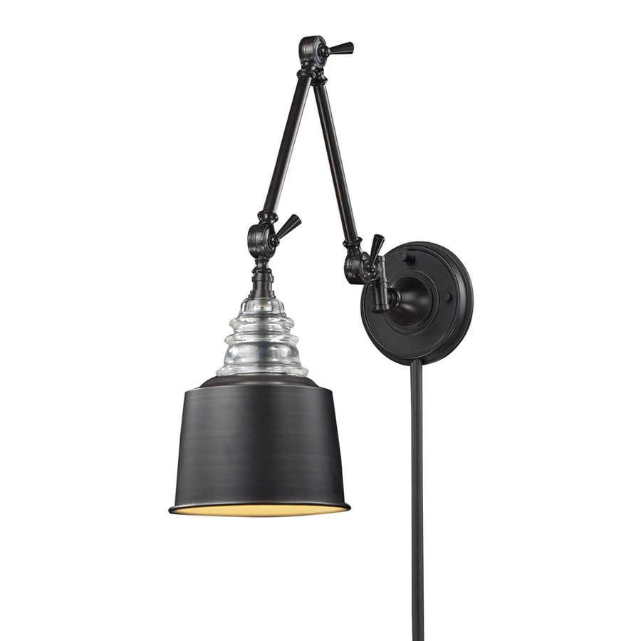 Westmore Lighting 18-in H Oiled Bronze Swing-Arm Casual/Transitional Wall-Mounted Lamp with Metal Shade