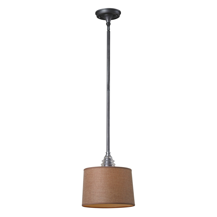 Westmore Lighting Notley 10-in Weathered Zinc and Raw Umber Fabric Mini Clear Glass Drum Pendant