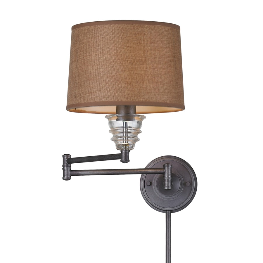 shop westmore lighting 15 in h weathered zinc swing arm led wall mounted lamp with fabric shade. Black Bedroom Furniture Sets. Home Design Ideas