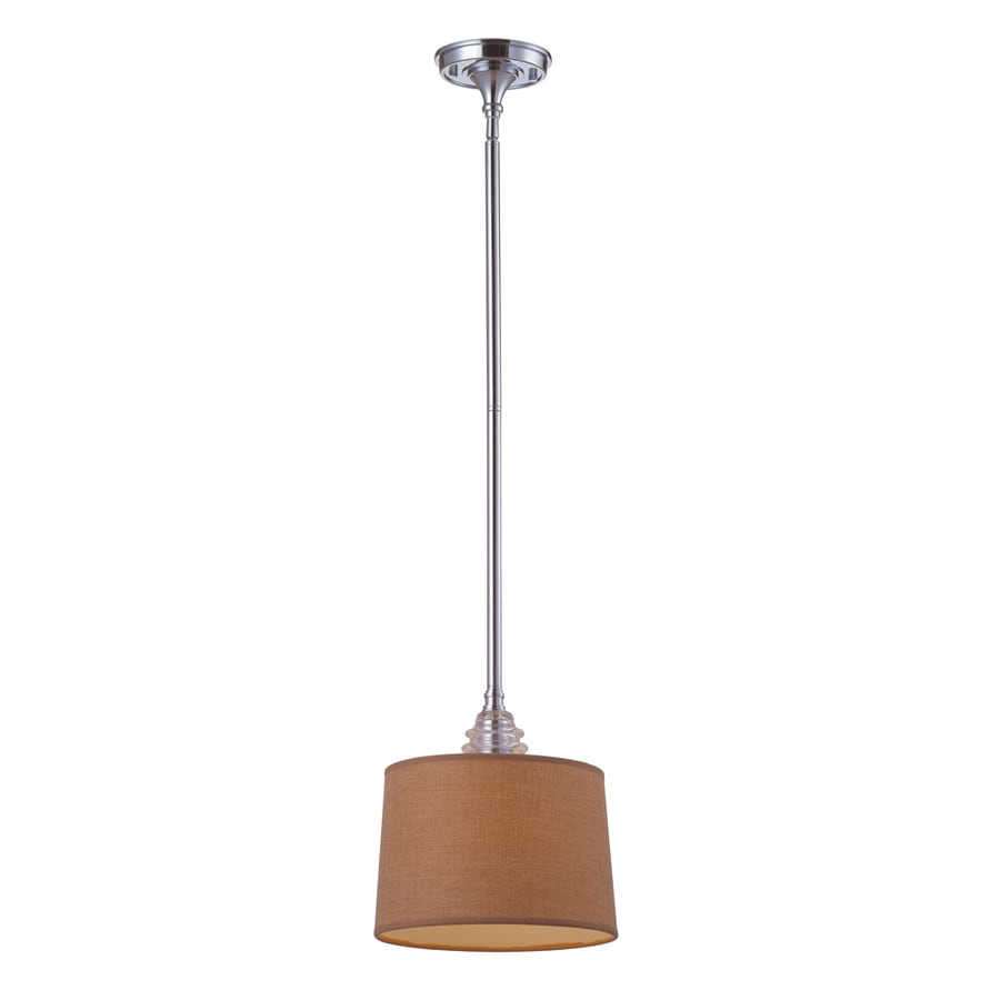 Westmore Lighting Notley 10-in Polished Chrome and Raw Umber Fabric Mini Clear Glass Drum Pendant