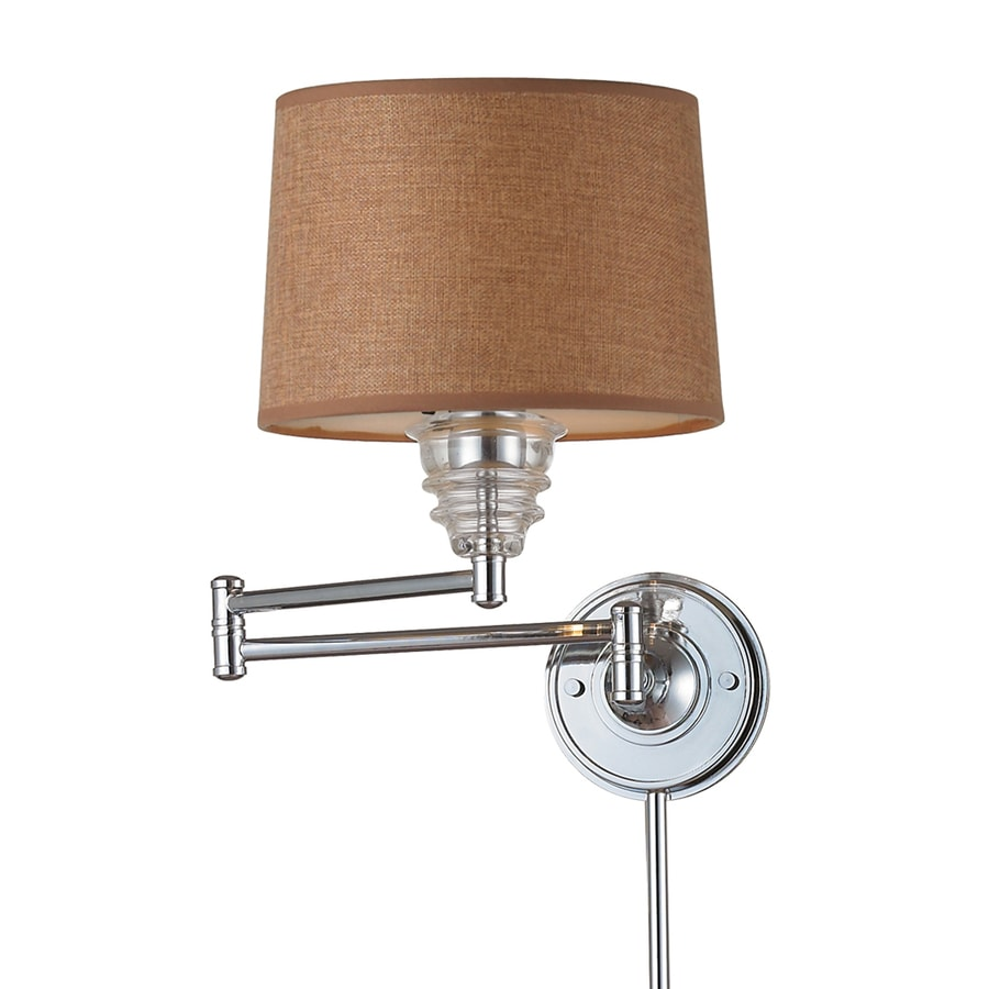 Westmore Lighting 15-in H Polished Chrome Swing-Arm Wall-Mounted Lamp with Fabric Shade