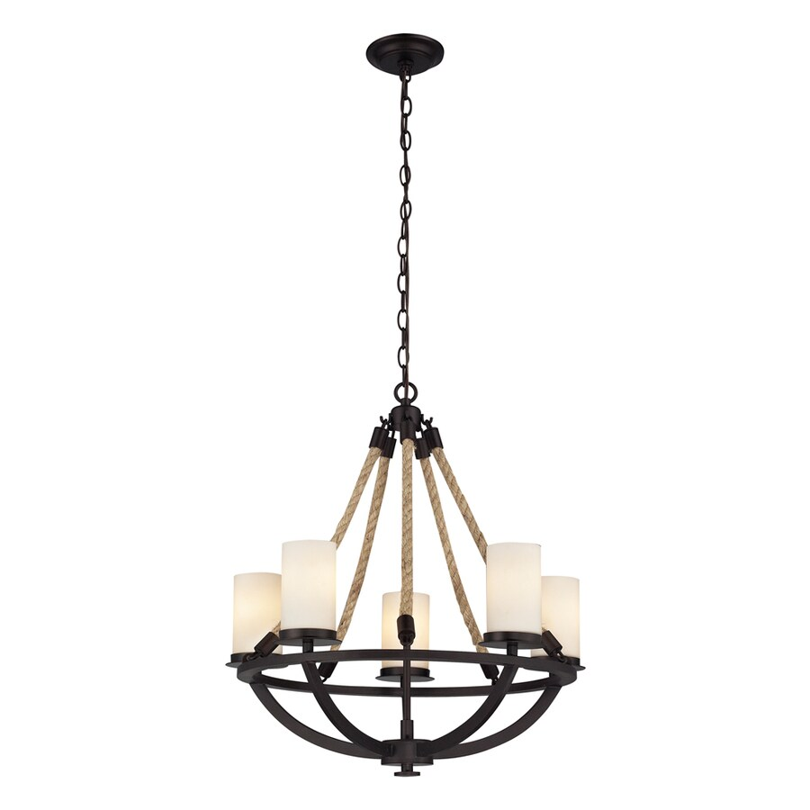 Westmore Lighting Litherland 35-in 7-Light Aged bronze and opal white glass Rustic Candle Chandelier