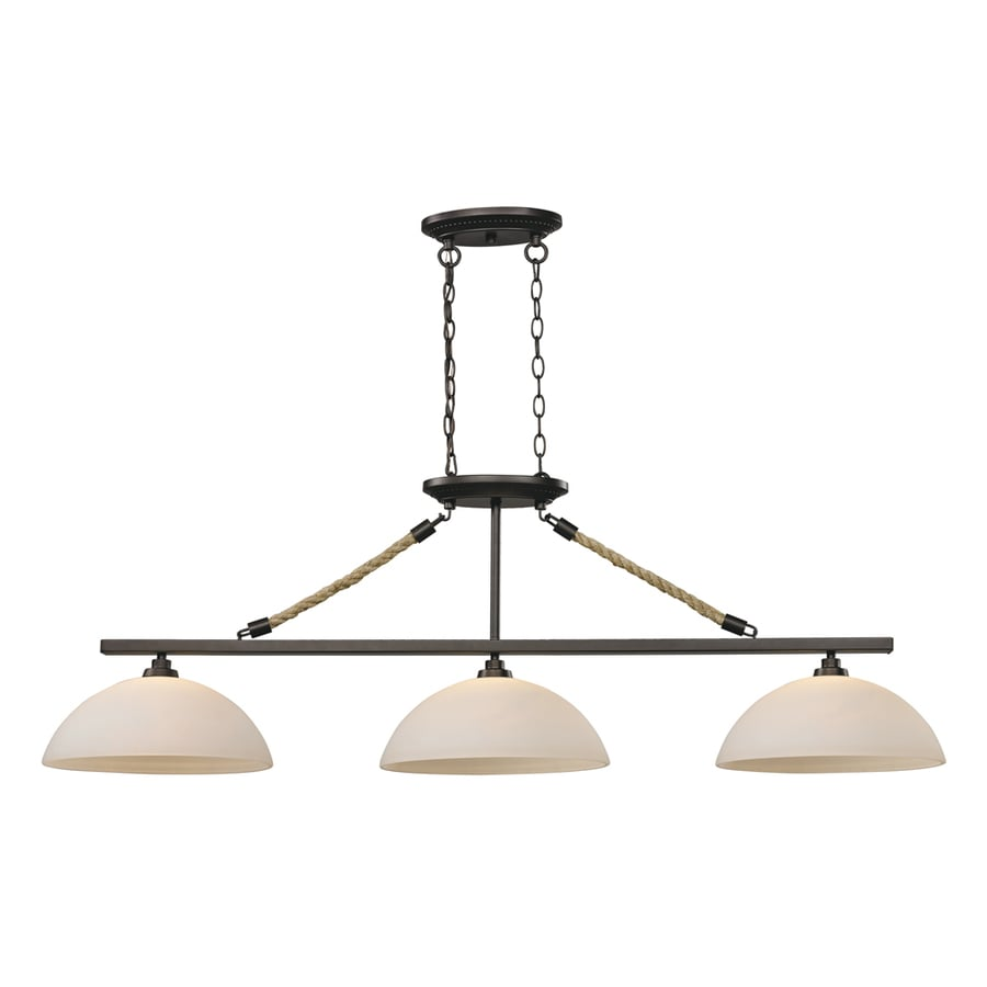 Westmore Lighting Litherland 54-in W 3-Light Aged Bronze and Opal White Glass Kitchen Island Light with White Shade
