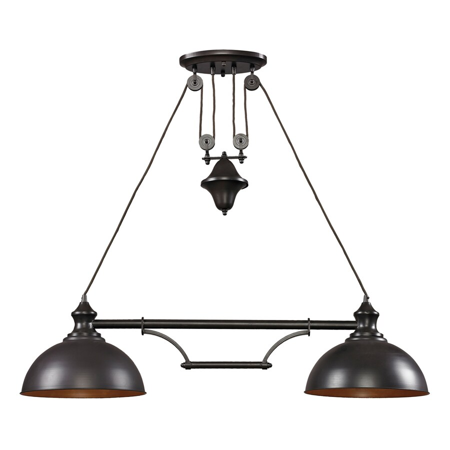 Westmore Lighting Crossens Park 13-in W 2-Light Oiled Bronze Kitchen Island Light with Tinted Shade