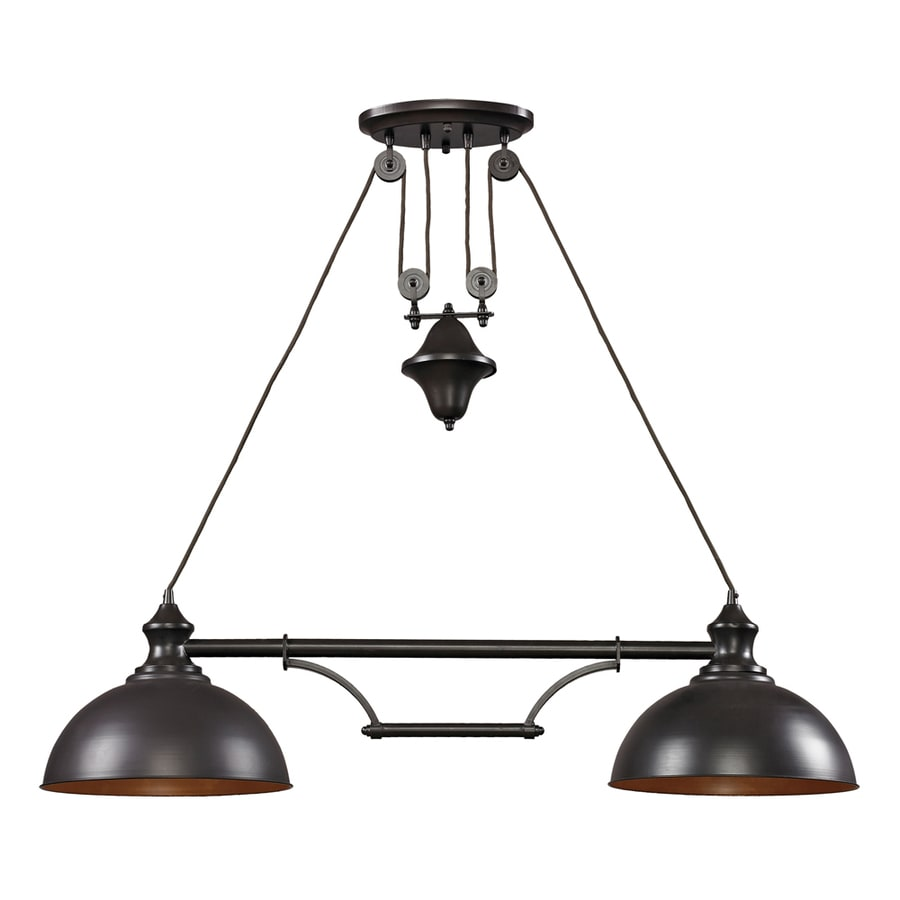 Westmore Lighting Crossens Park 13-in W 2-Light Oiled Bronze LED Kitchen Island Light with Tinted Shade