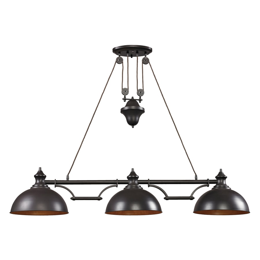Shop westmore lighting crossens park 13 in w 3 light oiled for Island kitchen lighting fixtures