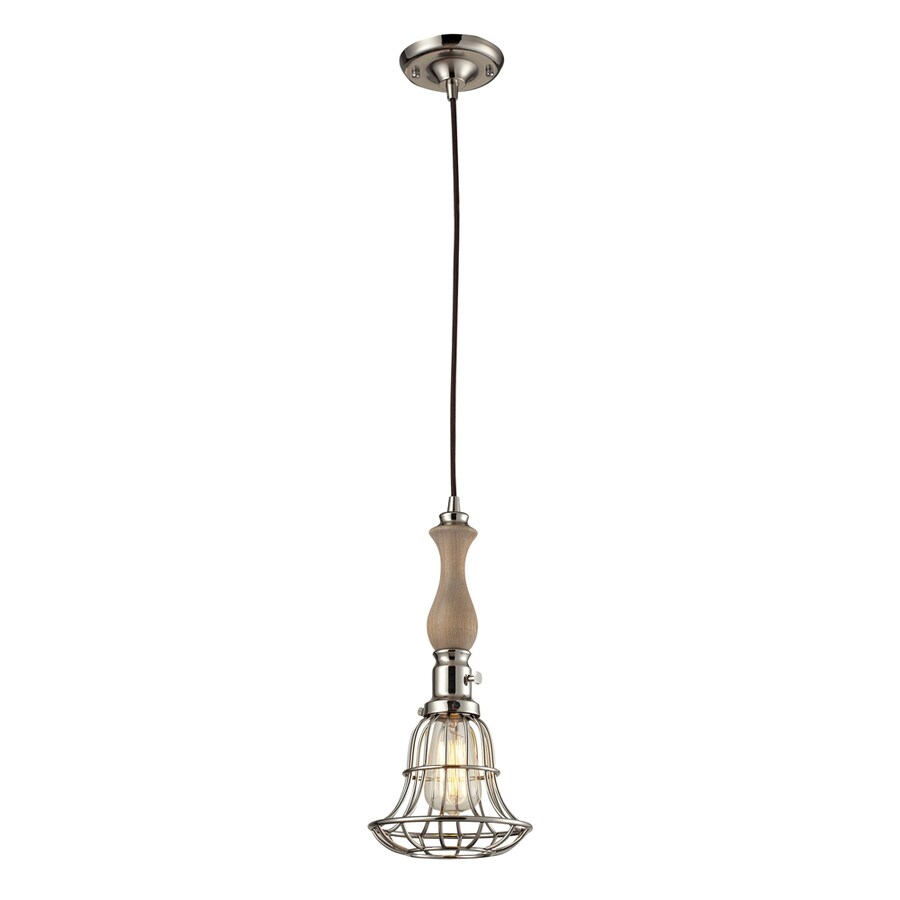 Westmore Lighting Brigsley 7-in Washed Pine and Polished Nickel Industrial Mini Pendant