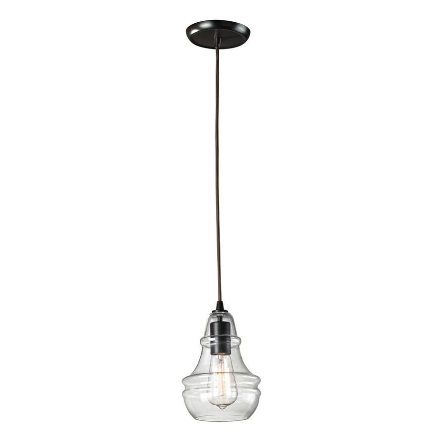 Westmore Lighting Alvingham 6-in Oiled Bronze and Clear Glass Industrial Mini Clear Glass Pendant