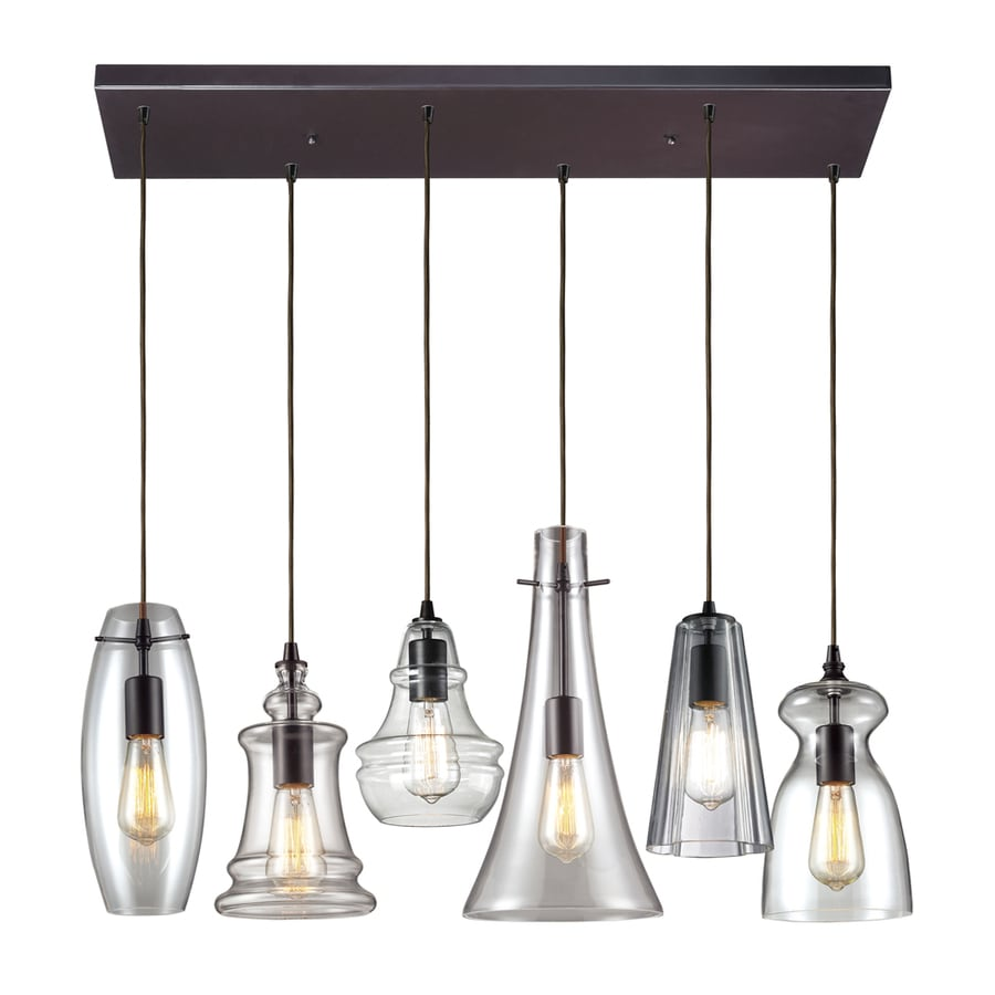 Westmore Lighting Alvingham 30-in Oiled Bronze and Clear Glass Mini Clear Glass Pendant